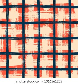 Vector seamless minimalist plaid pattern with bold crossing lines and stripes hand drawn in 1990s grunge fashion style. Tiles pattern with check and squares. Vector simple background in coral red