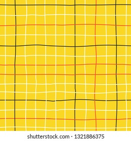 Vector seamless minimalist plaid pattern with thin colorful crossing lines and stripes hand drawn in 1990s Memphis fashion style. Tiles pattern with check and squares. Vector simple yellow background