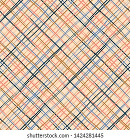 Vector seamless minimalist plaid pattern with thin colorful crossing lines and stripes hand drawn in 1990s Memphis fashion style. Tiles pattern with check and squares. Vector simple orange background