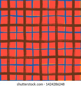 Vector seamless minimalist plaid pattern with thin colorful crossing lines and stripes hand drawn in 1990s Memphis fashion style. Tiles pattern with check and squares. Simple Christmas red background