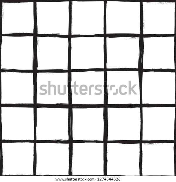 19a3eee1d Vector seamless minimalist plaid pattern with thin black crossing lines and  stripes hand drawn in 1990s