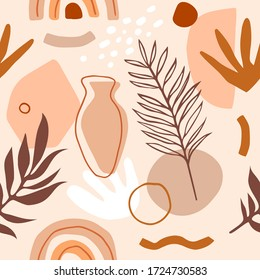 Vector Seamless minimalistic pattern with big colorful shapes, leaves, vase and greece elements. Cute trendy design for fabric or wallpaper.