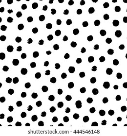 Vector seamless modern messy polka dot pattern. Messy ink dry brush line background. Black and white artistic pattern. Great for print, wrapping paper, wallpaper