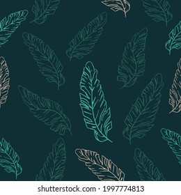 Vector Seamless Modern Neon Banana Tropical Leaves Pattern. Jungle botanic background for the packaging, wrapping paper, prints, ads banner, fabric
