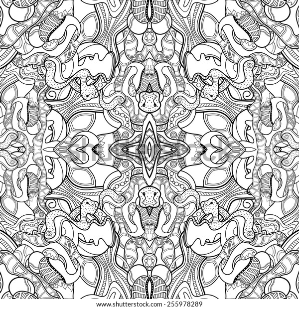 Vector Seamless Monochrome Abstract Pattern. Kaleidoscope. Hand Drawn Texture