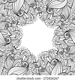 Vector Seamless Monochrome Floral Background. Hand Drawn Decorative Flowers, Coloring Book
