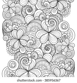 Vector Seamless Monochrome Floral Pattern with Decorative Clover and Coins. Hand Drawn Saint Patrick's Day Holiday Texture. Paisley Garden Style
