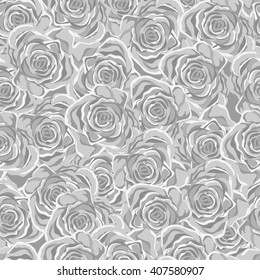 Vector Seamless monochrome Floral Pattern. Flower pattern with Yellow Roses. Vintage Background for your design: Fashion fabric, Wallpaper, Wedding Invitation or Congratulation and etc.