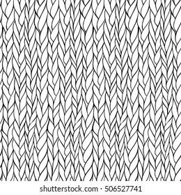 Vector seamless monochrome hand drawn knitting pattern