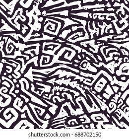 Vector Seamless Mosaic Pattern. Mix of Hand Drawn Curve Shapes. Modern Art Background