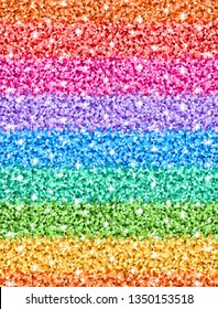 Vector seamless multicolor gradient sparkle glitter pattern. Shining colorful rainbow texture background