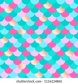 Vector seamless multicolored mermaid background. Pattern of gold, red, green fish scales. Fabric textile print.