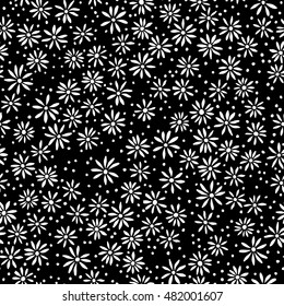 vector seamless naive minimalistic ditsy flower pattern, modern little daisy floral background print with dots