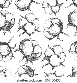 Vector seamless natural cotton engraving  pattern. Hand- draw rustic  illustration.