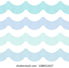 Vector seamless nautical pattern from blue, turquoise and indigo small water drops fountain on white background. Wallpaper, wrapping paper, shower curtain print, batik