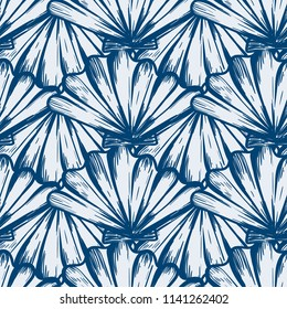 Vector seamless nautical pattern with shells in aqua color. Abstract texture in ocean blue. Simple hand drawn design with shells. Vintage retro print for textile fabric wallpaper. Summer background