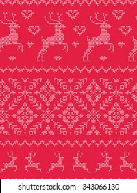 Vector seamless nordic ornament knitted pattern with deer