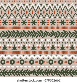 Vector seamless norwegian pattern with snowflakes and Christmas trees. Repeated winter texture. Scandinavian style.