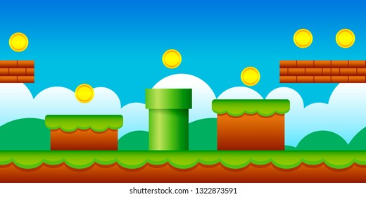 Vector Seamless Old Retro Video Game Background. Classic Style Game Design Scenery.