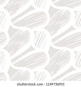 Vector seamless organic pattern with abstract round shapes and nautical motif in sand color. Abstract coastal hand drawn texture in retro style. Simple hand drawn background with wave and waving lines