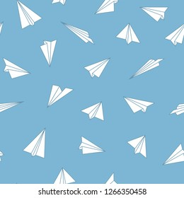Vector seamless origami pattern with drawing paper planes. Decorative blue background