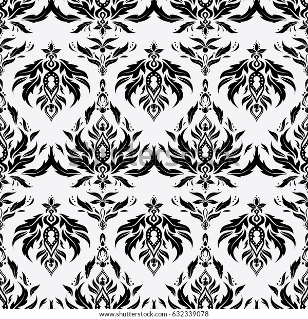 Vector seamless ornament in black and neutral colors. Distressed damask seamless pattern background tile.