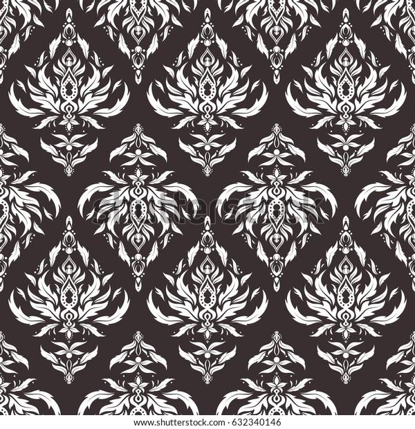 Vector seamless ornament in brown and white colors. Distressed damask seamless pattern background tile.