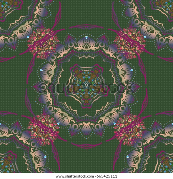Vector seamless ornament in green, blue and purple colors. Distressed damask seamless pattern background tile.