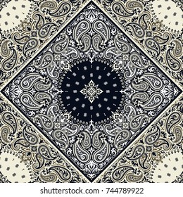 Vector seamless ornament paisley Bandana Print, silk neck scarf or kerchief square pattern design style for print on fabric.