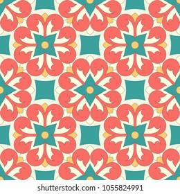 Vector seamless ornamental pattern. Colourful Moroccan Portuguese tiles
