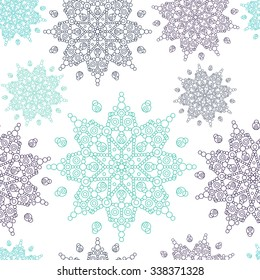 Vector seamless ornamental pattern in romantic style.