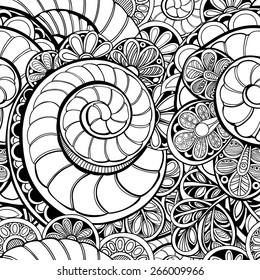 Vector seamless ornate pattern with shells and flowers. Contour illustration