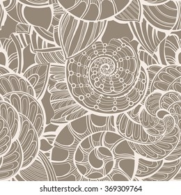 Vector seamless ornate pattern with shells and leafs. Contour illustration