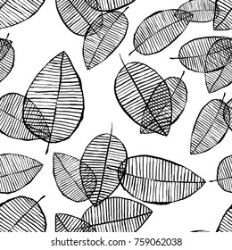 Vector seamless outline leaves pattern. Black and white background made with watercolor, ink and marker. Trendy scandinavian design concept for fashion textile print. Nature illustration.