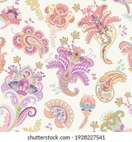 Vector seamless paisley pattern. Indian floral wallpaper. Colorful nature pattern. Arabian decorative able pattern. Paisley design textile, print, fabric, decoupage, wrapping paper, invitation, web
