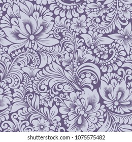 Vector seamless  pastel blue pattern with abstract stylized flowers in folk style, hohloma, petrikovka. Ethnic floral ornamental design for textiles, wallpaper, packaging