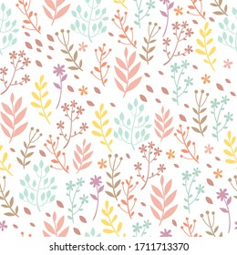 vector seamless pastel pattern with flowers and plants. decorations for fabrics, textiles, packaging, wallpaper, background. wildlife