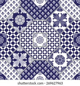 Vector seamless patchwork background from dark blue and white ornaments, geometric patterns, stylized flowers and leaves