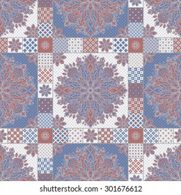Vector seamless patchwork background from dark blue,  terracotta and light grey oriental ornaments, polka dot patterns, rosette from stylized flowers and leaves. Geometrical decorative  textile print