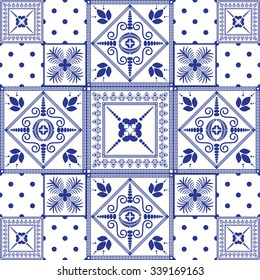 Vector seamless patchwork background. Navy blue tiles in moroccan oriental style. Ceramic pattern design.