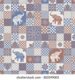 Vector seamless patchwork pattern from dark blue, terracotta light grey and beige oriental ornaments. Indian elephant silhouette, rosette from stylized flowers and leaves. Geometrical  textile print