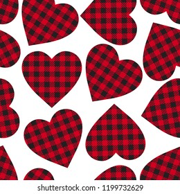 Vector seamless patern Cell Heart backgrounds red and black color. Abstract checkered backdrop fashion cloth cage isolated on white