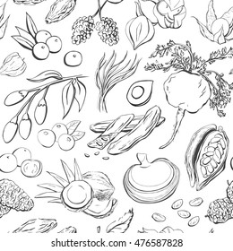 Vector seamless patter with doodles of the most popular super foods. Hand drawn fruits, plants and berries with black outline on white background for your design.