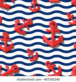 Vector seamless pattern with 3d stylized red anchors and blue wavy stripes. Summer marine striped background. Design for fashion textile print, wrapping paper, web background. Anchor flat symbol.