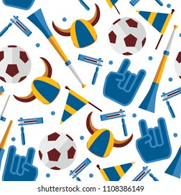 Vector seamless pattern about football fan and accessories as cheerleader glove, hat with horns, ratchet and vuvuzela