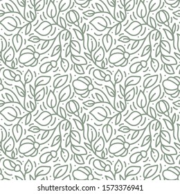 Vector seamless pattern and abstract background with green leaves for organic and healthy food packaging, natural eco cosmetics and vegan products