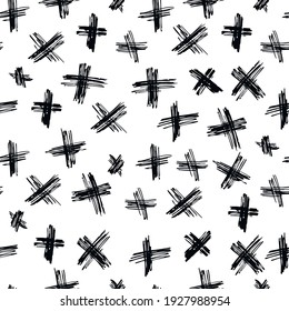 Vector seamless pattern abstract background with brush strokes.Trendy monochrome texture with pluses or crosses, simbols of kisses. Trendy graphic design. Monochrome hand drawn print with hipster X.