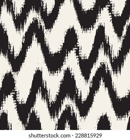 Vector seamless pattern. Abstract background with zigzag brush strokes. Monochrome hand drawn texture