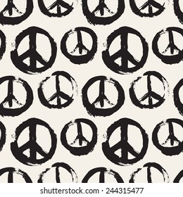 Vector seamless pattern. Abstract background with symbol of peace. The sign of pacifists. Monochrome texture made by brush strokes