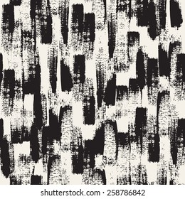 Vector seamless pattern. Abstract background with black brush strokes. Monochrome hand drawn texture. Modern graphic design.